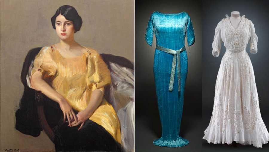 Cuadro del Pintor Joaquín Sorolla  que muestra a una mujer sentada en un sillón con un vestido suelto color mostaza. 2 vestidos largos de fiesta de los años 20.